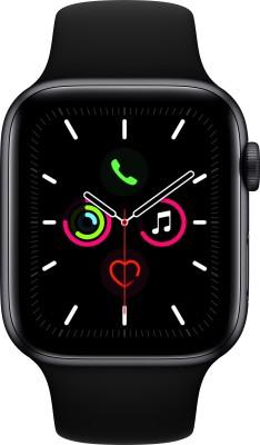 Apple Watch Series 5 GPS 44 mm Space Grey Aluminium Case with Black Sport Band(Black Strap, Regular)
