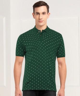 Arrow Sport Printed Men Polo Neck Green T-Shirt