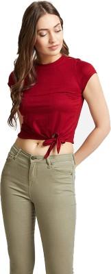 Casual Short Sleeve Solid Women Maroon Top