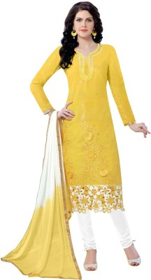 Manvaa Poly Chanderi Embroidered Salwar Suit Material(Semi Stitched)