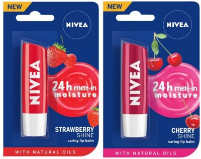 NIVEA Fruity Shine Strawberry, Cherry  (Pack of: 2, 9.6 g)