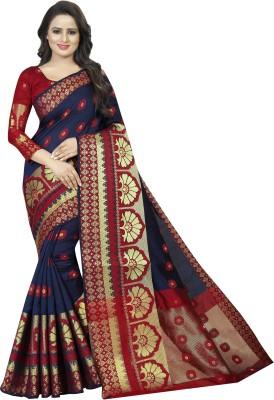 SATYAM WEAVES Woven Banarasi Cotton Silk Saree(Dark Blue)