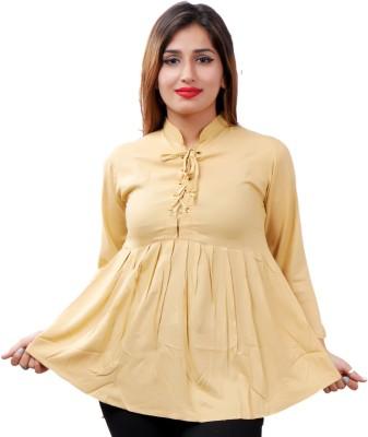 Flickzon Casual Bell Sleeve Solid Women Beige Top
