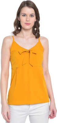 MAYRA Party Sleeveless Solid Women Yellow Top MAYRA Women's Tops