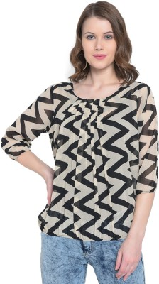 MAYRA Party 3/4 Sleeve Geometric Print Women Multicolor Top MAYRA Women's Tops