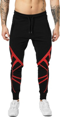 JUGULAR Polka Print Men Black Track Pants