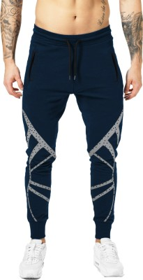 JUGULAR Printed Men Dark Blue Track Pants