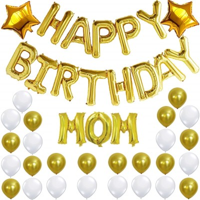 Theme My Party Solid Birthday decoration for MOM birthday balloons for birthday Balloon(White, Gold, Pack of 48)