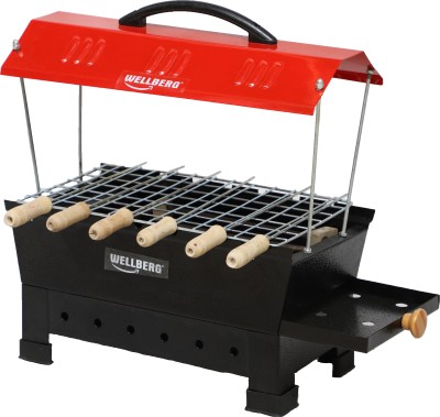 WELLBERG Large Electric & Non Electric Barbecue Grill & Tandoor Set (Red), Toaster Barbeque Grill Electric Grill