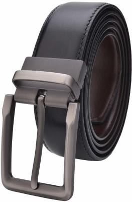 MS Men Formal, Casual Black Artificial Leather Reversible Belt