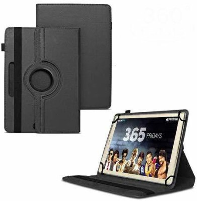 TGK Flip Cover for Micromax Canvas Plex Tab 32 GB 8 inch with Wi-Fi+4G Tablet with Rotating Leather Stand Case(Black, Anti-radiation)