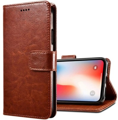 iPaky Flip Cover for Vivo Y95, Vivo 1807, Vivo1818(Brown, Maroon, Cases with Holder)