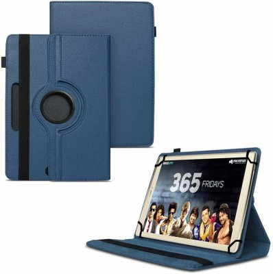 TGK Flip Cover for Micromax Canvas Plex Tab 32 GB 8 inch with Wi-Fi+4G Tablet with Rotating Leather Stand Case(Dark Blue, Shock Proof)