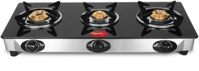 Pigeon Ultra Glass, Stainless Steel Manual Gas Stove(3 Burners)