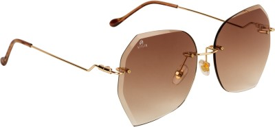 Aislin Over-sized, Round Sunglasses(Brown)