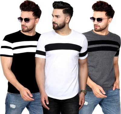 SCATCHITE Color Block Men Round Neck White, Black, Grey T-Shirt(Pack of 3)