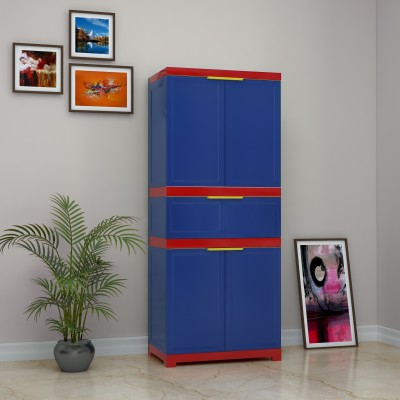 Nilkamal FMDR1C Plastic Free Standing Cabinet(Finish Color - Pepsi Blue / Bright red & Yellow)