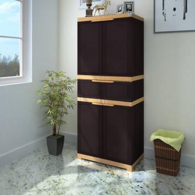 Nilkamal FMDR1C Plastic Free Standing Cabinet(Finish Color - Weather brown & Biscuit)