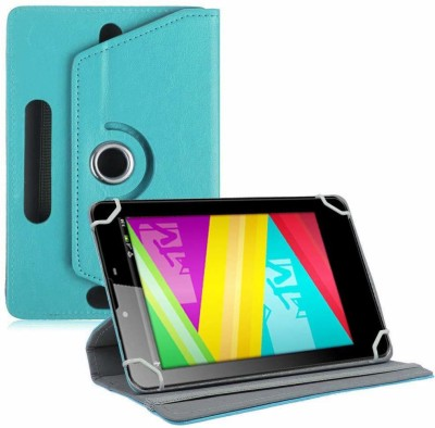 TGK Book Cover for Swipe MTV Slash 4X 7 inch Tablet Universal Rotating Case(Blue, Cases with Holder)