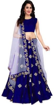 Harikrishnafashionwork Embroidered Semi Stitched Lehenga & Crop Top(White, Blue)