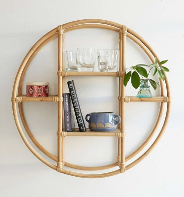 IRA Cane Circular Rattan Wall Shelf Bamboo Wall Shelf(Number of Shelves - 4, Beige)