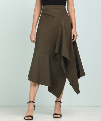 AND Solid Women Asymetric Dark Green Skirt