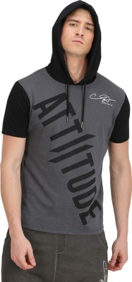 ATTIITUDE Printed Men Hooded Neck Grey, Black T-Shirt