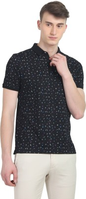 Blackberrys Printed Men Polo Neck Black T-Shirt