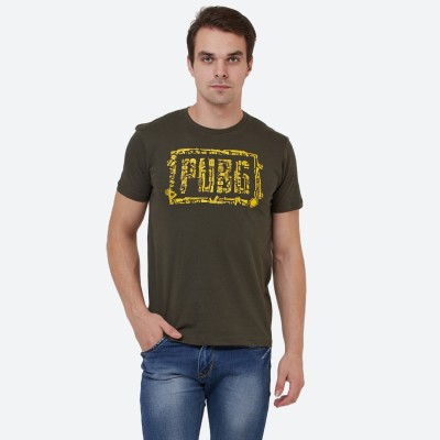Free Authority Printed Men Round Neck Dark Green T-Shirt