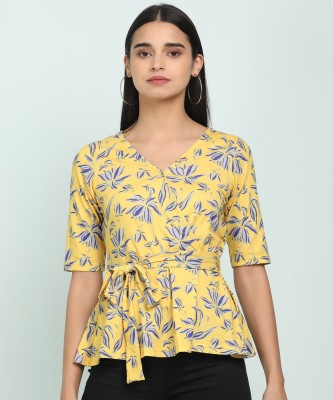 AND Casual Half Sleeve Printed Women Yellow Top