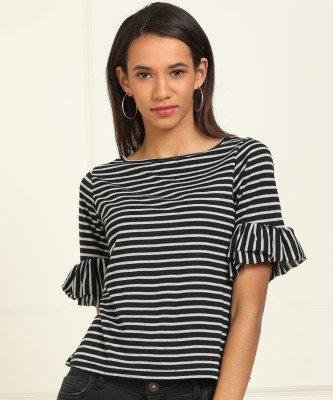 AND Casual Layered Sleeve Striped Women Black, Grey Top