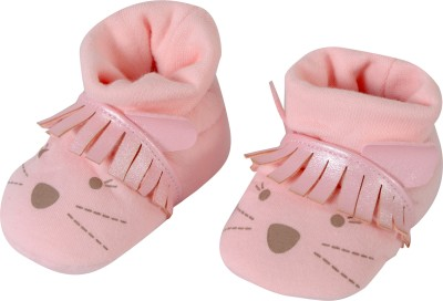 Baby Grow Soft Sole Funny Face Baby Soft Booties Booties(Toe to Heel Length - 11 cm, Peach)