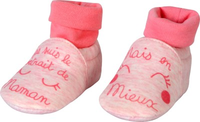 Baby Grow Soft Sole Funny Face Baby Soft Booties Booties(Toe to Heel Length - 11 cm, Pink)