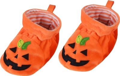 Baby Grow Soft Sole Funny Face Baby Soft Booties Booties(Toe to Heel Length - 11 cm, Orange)