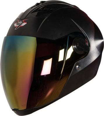 Steelbird SBA-2 7Wings Dashing in Black with Tinted Chrome Visor Motorbike Helmet(Black)