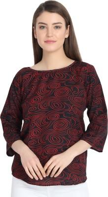 Trendey Tiska Casual Regular Sleeve Printed Women Maroon Top