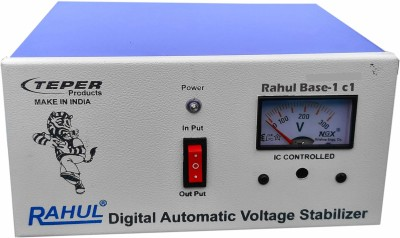 rahul Base-1 c1 KVA/4 Amp 140-280 Volt 3 Step 1 Computers/Washing Machine/Refrigerator 185 Ltr to 290 Ltr Auto Matic Copper Voltage Stabilizer Automatic Stabilizer(White, Blue)