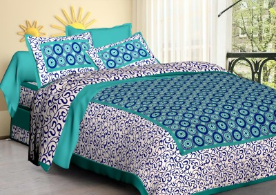 BEDBERRY 104 TC Cotton Double Printed Bedsheet(Pack of 1, Sky)