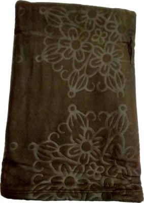 U P Khadi and Handloom Self Design, Solid Single Fleece Blanket(Woollen Blend, Brown)