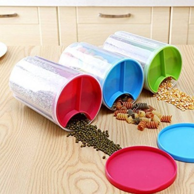 2Mech Transparent Plastic 3 Section Lock Food Storage Dispenser Airtight Container Jar for Cereals, Snacks, Pulses set of 3  - 1500 ml Plastic Grocery Container(Pack of 3, Multicolor)
