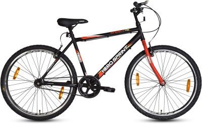 HERO Spunky 26TSS/Spunky 26T BK & RD 26 T Hybrid Cycle/City Bike(Single Speed, Black, Red)