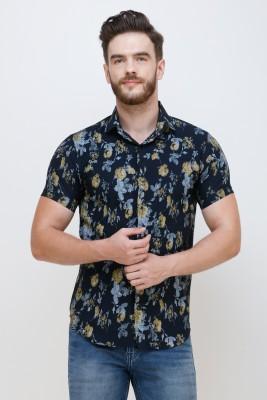 Colvyn Harris Men Floral Print Casual Dark Blue Shirt