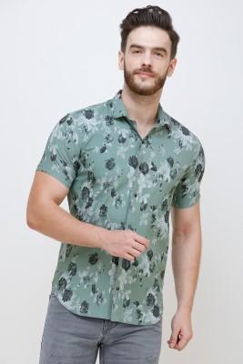 Colvyn Harris Men Floral Print Casual Light Green Shirt