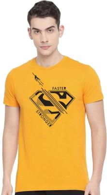 Tee town Graphic Print Men Round Neck Yellow T-Shirt