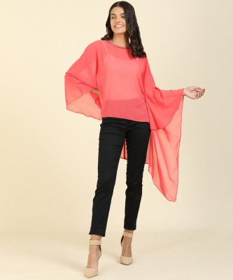 AND Casual Kaftan Sleeve Solid Women Pink Top