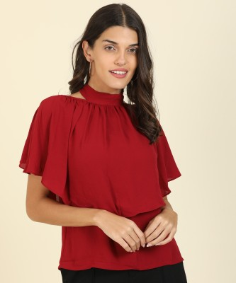 AND Casual Half Sleeve Solid Women Maroon Top