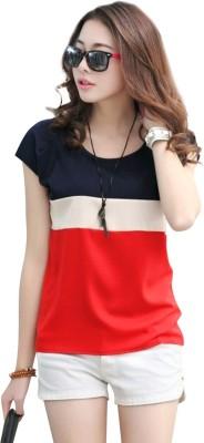 RACHANA FASHION Casual Cap Sleeve Striped Women Dark Blue, Red, White Top RACHANA FASHION Women's Tops