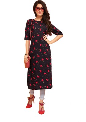 Saara Women Printed, Geometric Print, Floral Print, Chevron/Zig Zag Straight Kurta(Red, Black)