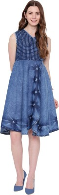 PINKY PARI Women Fit and Flare Blue Dress