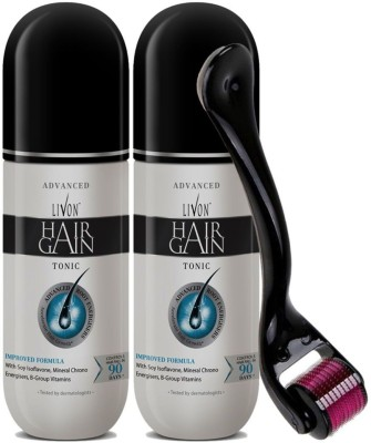Livon Hair Gain Tonic for Men, 150 ml Each (Pack of 2) With Elmask Derma Roller  (300 ml)